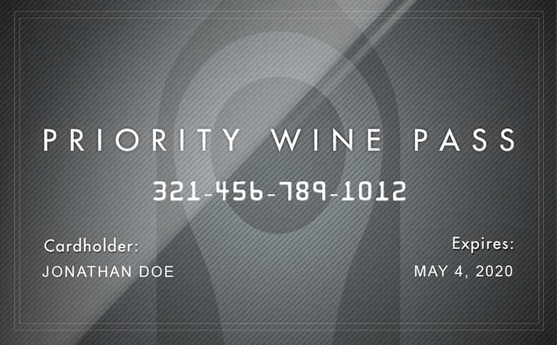 Priority Wine Pass Membership Card